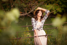 Beautiful woman portrait in trendy hat Royalty Free Stock Photo