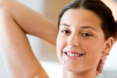 Beautiful woman portrait indoors Royalty Free Stock Photography