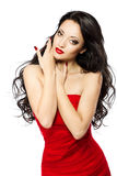 Beautiful Woman Portrait With Red Lips And Dress