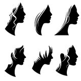 Beautiful woman portraits, fashion female faces, vector silhouette girl profiles Stock Images