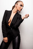 Beautiful woman pose in studio. Vogue style photo. Royalty Free Stock Photo