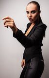 Beautiful woman pose in studio. Vogue style photo. Stock Photos