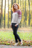 Beautiful woman poses in autumn park Stock Photo