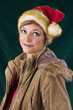 Beautiful woman posing as Santa Claus Royalty Free Stock Photo