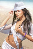 Beautiful woman posing on beach Royalty Free Stock Images