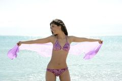Beautiful woman posing in bikini on the beach Stock Image