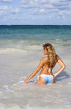 Beautiful woman posing in the caribbean sea Stock Photography
