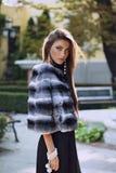 Beautiful woman posing in a chinchilla fur coat Stock Images