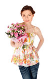 Beautiful Woman Posing with Flowers Stock Images