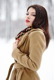 Beautiful woman posing in the forest in the winter Stock Photos