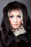 Beautiful woman posing in fur coat Stock Image