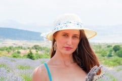 Beautiful woman posing in lavander field Stock Images
