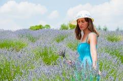 Beautiful woman posing in lavander field Royalty Free Stock Photo