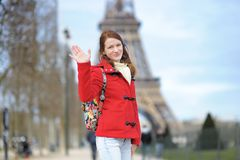 Beautiful woman posing near the Eiffel tower Royalty Free Stock Images