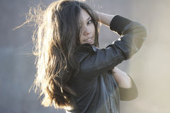 Beautiful woman posing outdoors. Beautiful asian woman posing outdoors Stock Photography