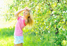 Beautiful woman posing outdoors. In summer royalty free stock photos