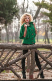 Beautiful woman posing in park during autumn season. Blonde girl wearing green blouse posing outdoor. Long fair hair girl Stock Photo