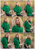 Beautiful woman posing in park during autumn season. Blonde girl wearing green blouse posing outdoor. Long fair hair girl Royalty Free Stock Photography
