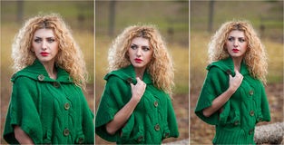 Beautiful woman posing in park during autumn season. Blonde girl wearing green blouse posing outdoor. Long fair hair girl Royalty Free Stock Photos