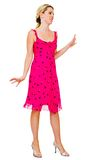 Beautiful woman posing in pink dress Stock Images