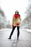 Beautiful woman posing on a road in the winter Stock Images