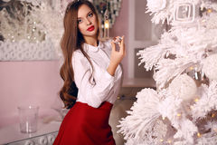 Beautiful woman posing in room with Crhistmas tree and decorations Royalty Free Stock Photos