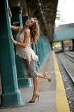 Beautiful woman posing in NYC subway station Royalty Free Stock Images