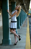 Beautiful woman posing in NYC subway station outside Royalty Free Stock Image