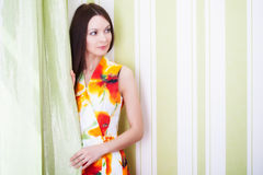 A beautiful woman is posing royalty free stock photo
