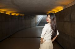 Beautiful woman posing in underpass Stock Photography