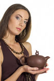 Beautiful woman with pot in hands Stock Photography