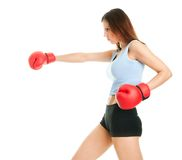 Beautiful woman practicing boxing Royalty Free Stock Image
