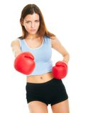 Beautiful woman practicing boxing Royalty Free Stock Photo