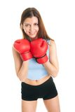 Beautiful woman practicing boxing Stock Image