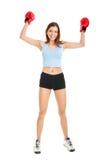 Beautiful woman practicing boxing Stock Photo