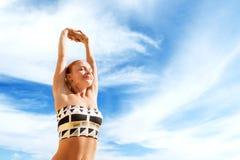 Beautiful woman practicing yoga stock image