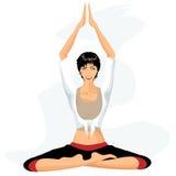 Beautiful woman practicing yoga in lotus posture Stock Photography