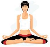 Beautiful woman practicing yoga in lotus posture Royalty Free Stock Photos