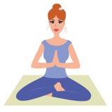 Beautiful woman practicing yoga, namaste pose Stock Photo