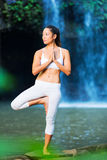 Beautiful Woman Practicing Yoga Outside In Nature Royalty Free Stock Images