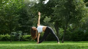 Beautiful woman practicing yoga in the park stock video