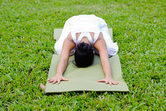 Beautiful woman practicing yoga in the park Stock Photos