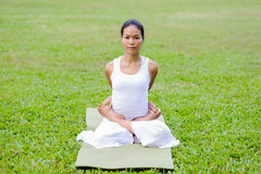 Beautiful woman practicing yoga in the park Royalty Free Stock Photos