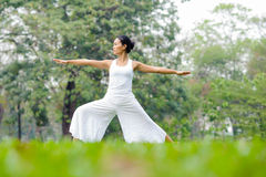 Beautiful woman practicing yoga in the park stock images
