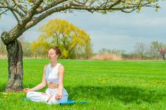 Beautiful woman is practicing yoga sitting in Lotus pose near blossom tree royalty free stock photography