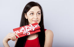 Beautiful woman with present Stock Image