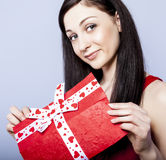 Beautiful woman with present Royalty Free Stock Images