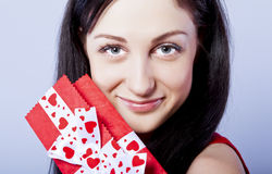Beautiful woman with present Stock Photo