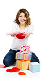 Beautiful woman with present boxes isolated Royalty Free Stock Images