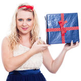 Beautiful woman with present Stock Photography